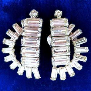 Vintage HUGE Icy Crystal Rhinestone Clip Earrings
